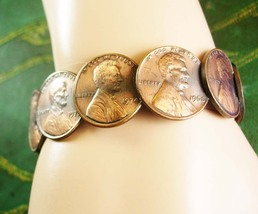 Vintage Penny Bracelet Coins 1964D 1966 1969 1971 1973 1974 plus more Si... - $35.00