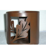 "Metal Jar Candle Holder With Leaf Design Pier 1  Measures 4"" Tall & 4.25"" Wide - $8.99"