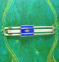 1920s Art Deco Tie Clip Blue Guilloche Enamel Men's silver Tie clasp Jew... - $70.00
