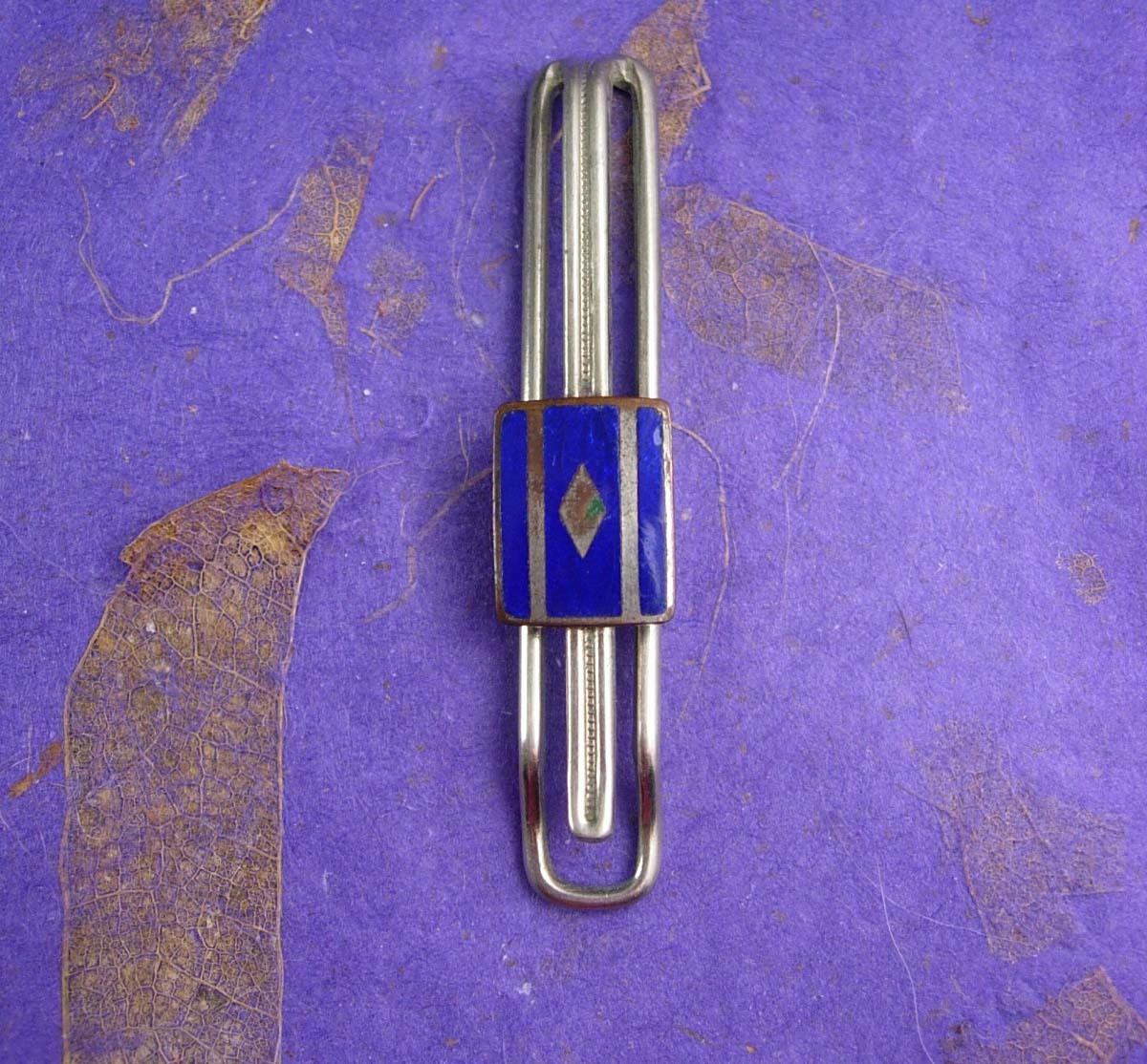 1920s Art Deco Tie Clip Blue Guilloche Enamel Men's silver Tie clasp Jewelry dia