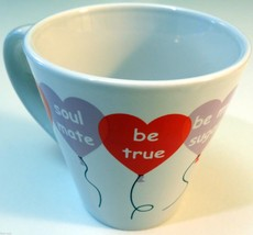 Red White Purple Love Heart Balloon Valentine Saucer 12 oz Coffee Mug Cup - £8.09 GBP