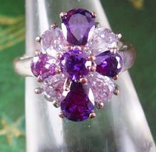 Vintage Cluster amethyst cocktail ring size6 3/4 purple cz Sterling Silv... - $85.00