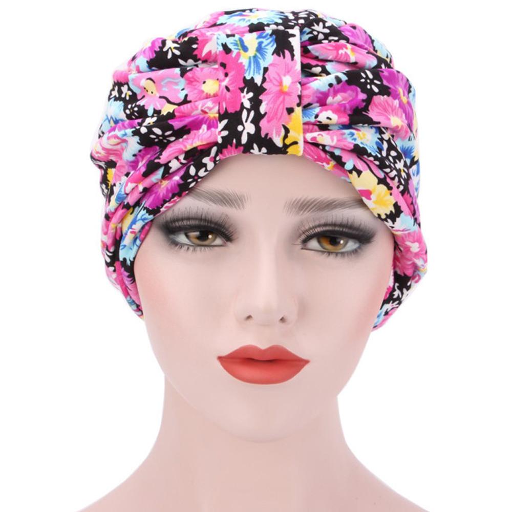 92be8d12326 Omen s caps flower muslim ruffle cancer chemo hats beanie scarf turban head  wrap caps printed