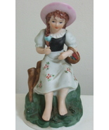 Figurine Barefoot Girl Basket Apples Decorative Porcelain Figure - $7.95