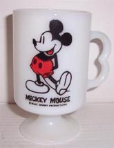 Walt Disney Mickey Mouse Anchor Hocking Collectible Milk Glass Mug - $45.42