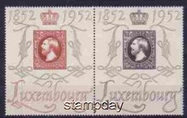 LUXEMBOURG 1952 #  278-9 MH SE-TENANT  STAMP ON STAMP CENTENARY  15044-3 - $35.64