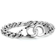 "Mens Stainless Steel Figaro Chain Link Handcuff Bracelet 8.7"" for Father""s Day - $48.00"