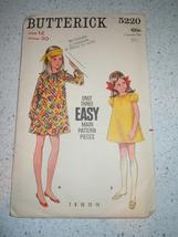 Vintage Butterick Child's Size 12 Girl's Dress  # 5220 1960's - $4.99