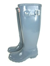 New Hunter Original Tall Gloss Waterproof Rain Boots Grey 5 Men 6 Womens 5M/6F - $65.10