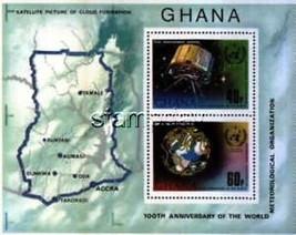 GHANA 1973 MAPS SATELLITES S/S WMO MNH 1353MK - $6.61