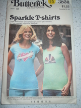 Vtg Butterick Teens Sparkle T-Shirts Iron On Transfers Size 10 # 3830  New - $3.99