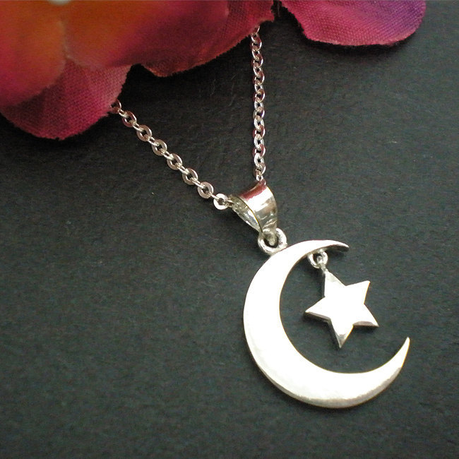 Half Moon and Star Necklace Pendant in Sterling Silver