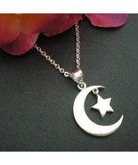 Half Moon and Star Necklace Pendant in Sterling Silver - $32.00