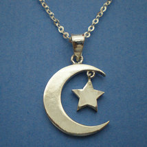 Half Moon and Star Necklace Pendant in Sterling Silver image 2