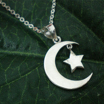 Half Moon and Star Necklace Pendant in Sterling Silver image 3