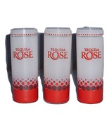 Tequila Rose 3 Tall Frosted Red Bubble Dot Shot Glasses Shooter Chaser - $12.99