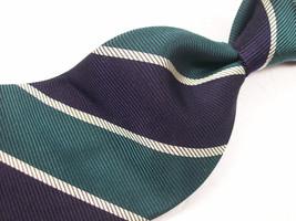 Vtg  ROBERT TALBOTT Classic Blue/Grn STRIPES  Mens 100 SILK Necktie   8 912 - $19.99