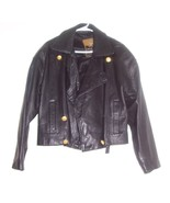 Women's Express Avenue De L' Opera Black Leather Motor bike Hip Jacket (L) - $191.64