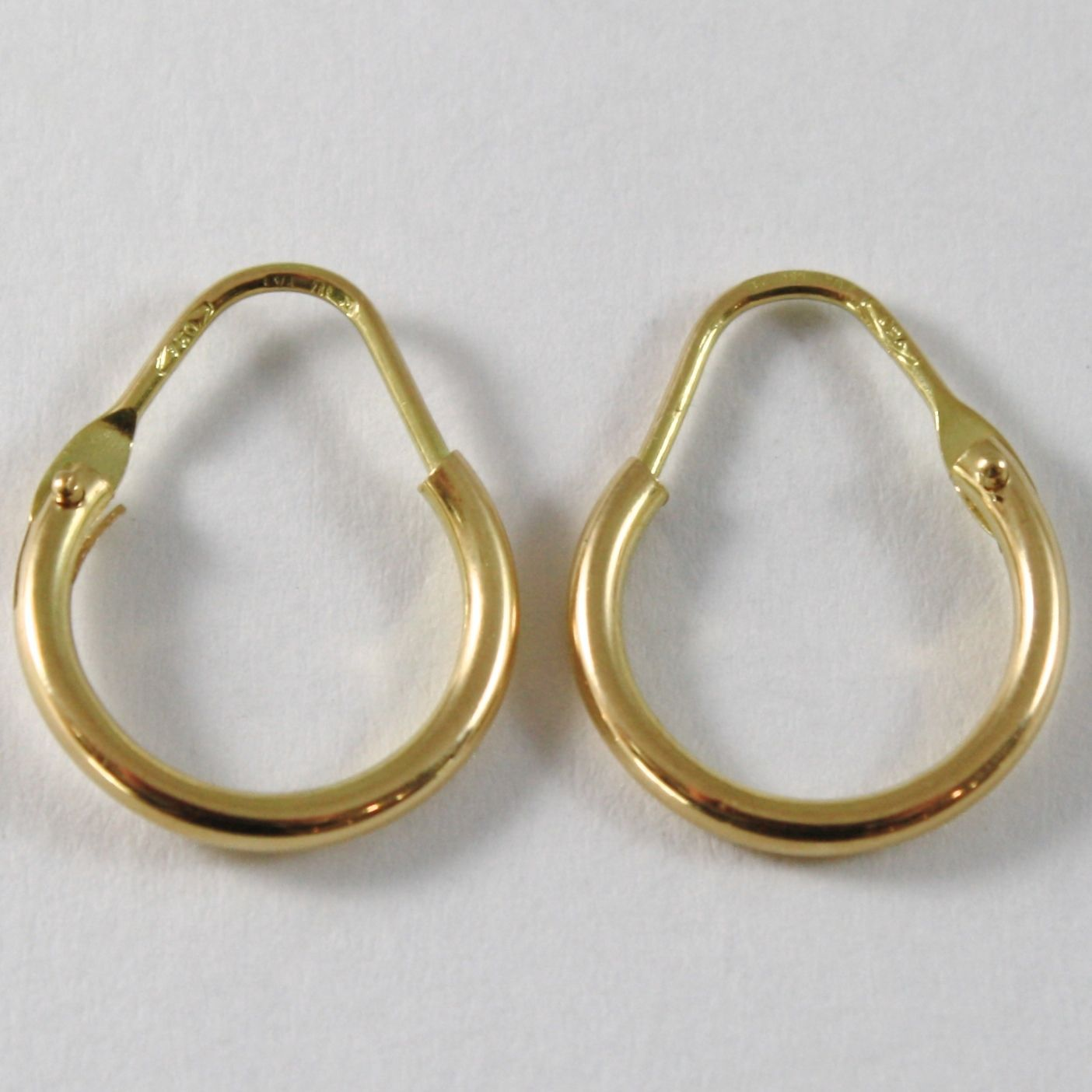 18K YELLOW GOLD ROUND CIRCLE EARRINGS DIAMETER 10 MM WIDTH 1.7 MM, MADE IN ITALY