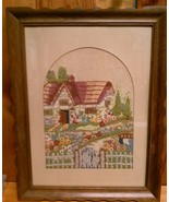 Garden Cottage Yarn Embroidery 18 x 14 Picture Framed with glass - $49.95