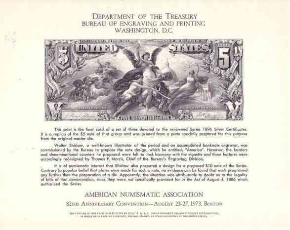 USA 1973 C70 ANA CARD $5 SILVER DOLLAR CERTIFICATE REPRODUCTION 6146