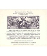 USA 1973 C70 ANA CARD $5 SILVER DOLLAR CERTIFICATE REPRODUCTION 6146 - €23,32 EUR