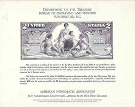 USA 1972 C69 ANA CARD $2 SILVER DOLLAR CERTIFICATE REPRODUCTION 6145 - $44.55