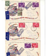 ISRAEL 1950 31-32 TETE-BECHE/GUTTERS 3 COVERS UPU 12307 - $594.00