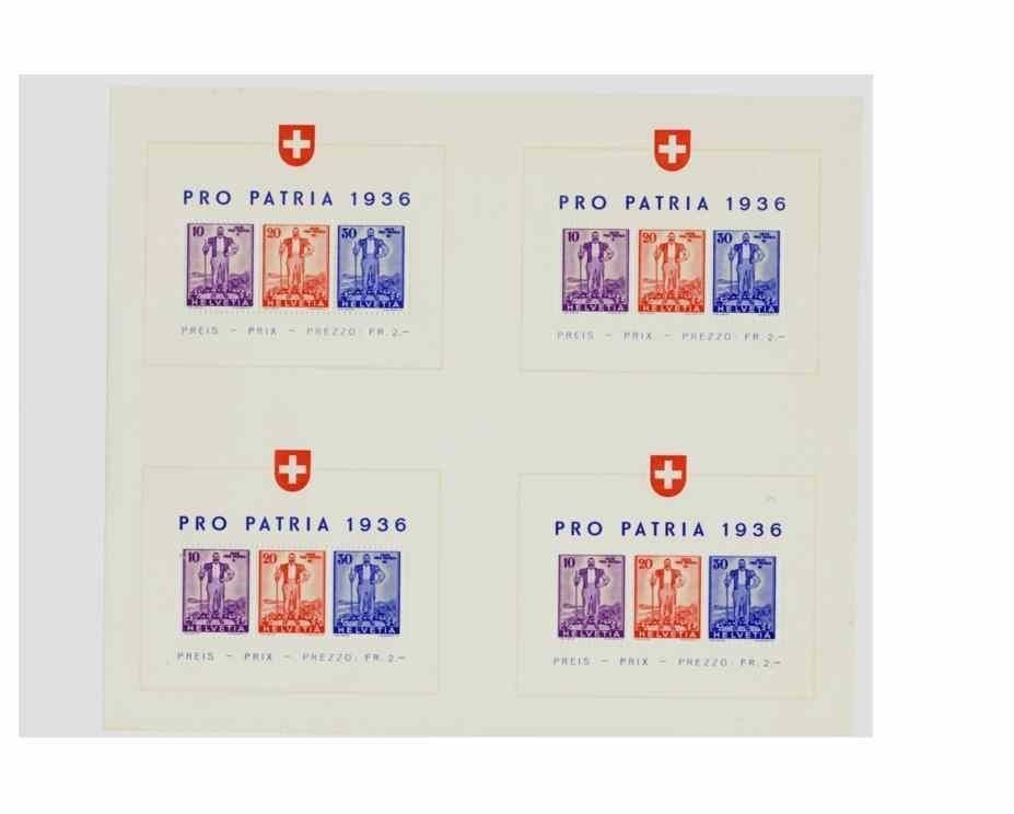 SWITZERLAND 1936 B80a PRESS SHEET OF 4 MNH EXTREMELY RARE CLASSIC   5341-D
