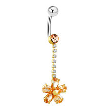 316L Surgical SteelNovember birthstone with flower pattern belly button ... - $23.99