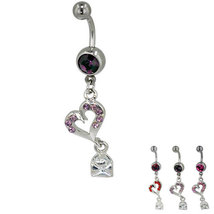 316L Surgical Steel Purple Crystal Heart And Envelope Pendant - $5.39