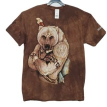 The Mountain Tribal Bear Mens T-Shirt 2XL Native Warrior Brown Tie-Dye NWT  - $24.60