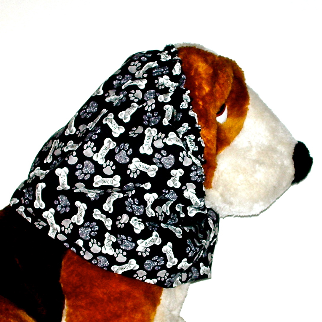 Dog Snood Black Paws & Bones Cotton Cavalier King Charles Spaniel Puppy SHORT