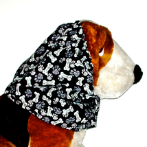 Dog Snood Black Paws & Bones Cotton Cavalier King Charles Spaniel Puppy ... - $9.50