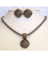 Gold-Silvertone Rhinestone Pendant Necklace Earring Set Pier - $8.00