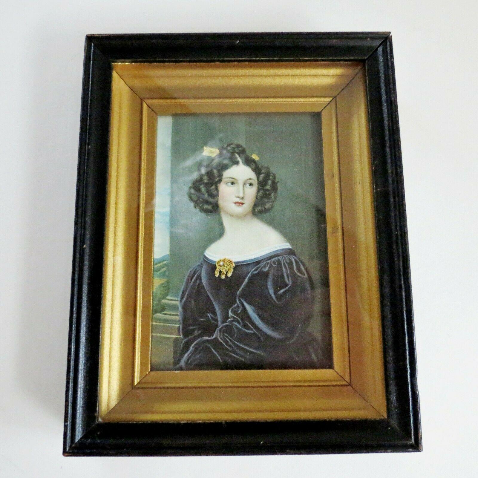 Antique Gold Frame behind glass lithograph Nanette Kaula - Joseph Karl Stieler
