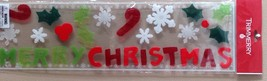 MERRY CHRISTMAS Gel Window Clings - 30 Pcs - Snowflakes, Candy Canes, Holly - $3.24