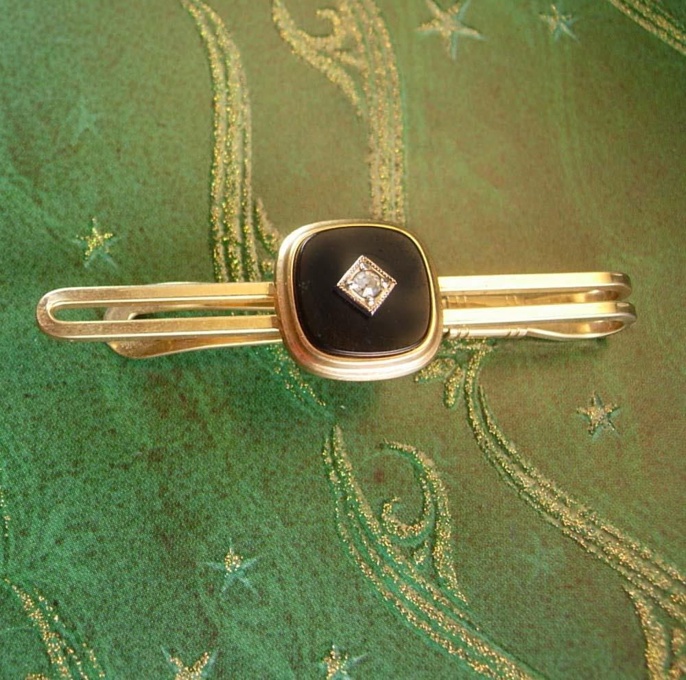 ff097d619321 Black & Gold Tie Clip Vintage Onyx with Faux Diamond Center Designer  Krementz Me
