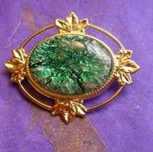 Victorian Style Brooch Vintage Foil Cabochon Women's Green Decorative Bl... - $40.00