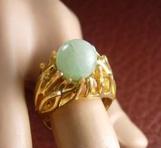 Large JADEITE Ring Vintage Trifari Genuine Gemstone Size 8 Women's Jewelry - $60.00