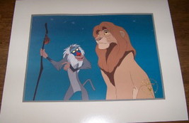 Disney Lion King Simba & Rafiki monkey commerative Gold Seal Lithograph - $24.18