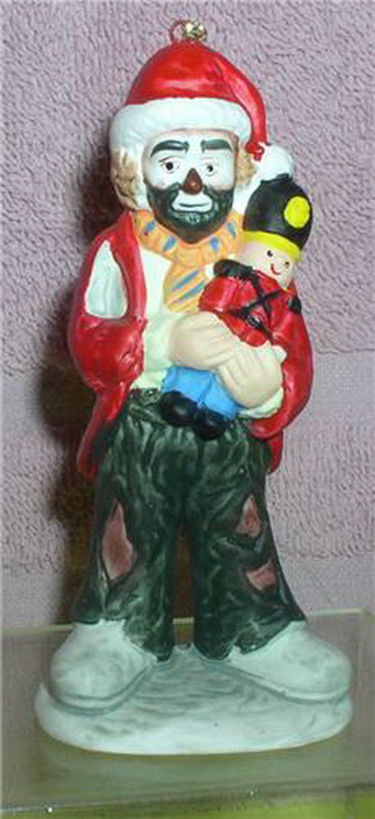 Primary image for Emmett Kelly Jr. circus clown holding Nutcracker w/ Santa Hat  Flambro ornament