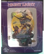Flying Witch over Haunted houses Night Light  Halloween New - $19.33
