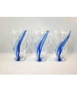 Handblown Glass Set - Cobalt Blue Highlights - Set of 3 - Excellent! - £14.62 GBP