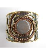 Mixed Metal Cuff Bracelet with Gray Stone, Bras... - $25.00