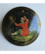 Russian Hand Painted Round Lacquer Pin from Pal... - $20.00