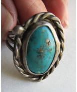 Vintage Navajo Ring Turquoise Rustic Rope Trim Size 6-1/2 - $40.00