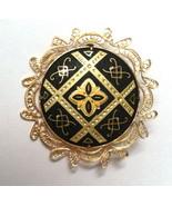 Vintage Round Damascene Brooch Pin Spain Black ... - $22.00