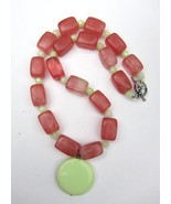 Strawberry Quartz and Chrysoprase Necklace and ... - $24.99