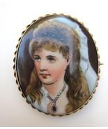 Antique Large Hand Painted Lady Portrait Brooch... - $195.00